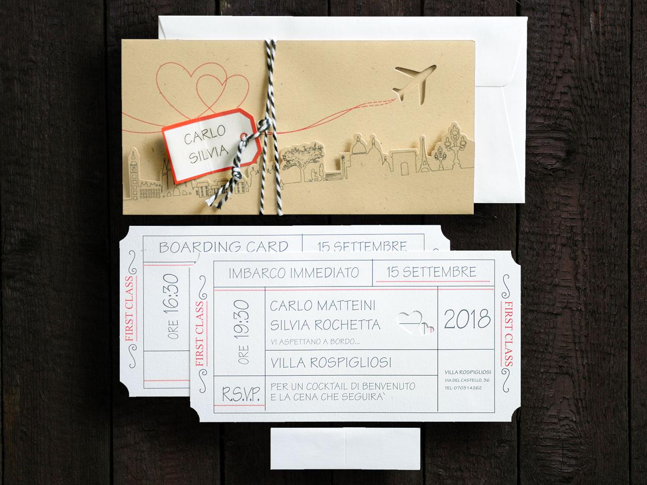 Partecipazioni Matrimonio Biglietto Aereo.Partecipazioni Matrimonio In Tema Viaggio Invio Campione